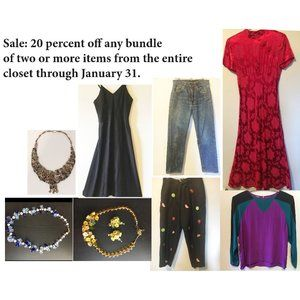 Dresses, Jewelry, blouses, pants.